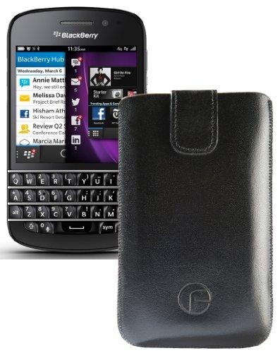 Original Favory ® Etui Tasche für / BlackBerry Q5 / Leder Etui Handytasche Ledertasche Schutzhülle Hülle Hülle *Lasche mit Rückzugfunktion* In Schwarz