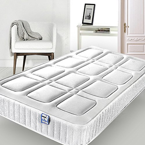 Memory Foam Spring Mattress Budget High Density Foam Comfort Sprung Mattress with Square Pattern Vacuum Rolled Packed (4FT6 Double Size 135cm x 190cm)
