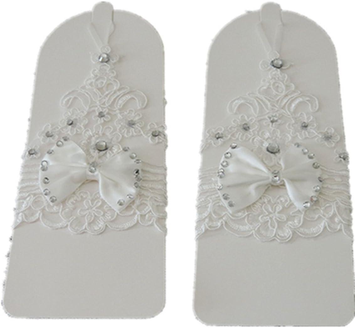 Newdeve Handmade Short White Fingerless Lace Bridal Wedding Gloves
