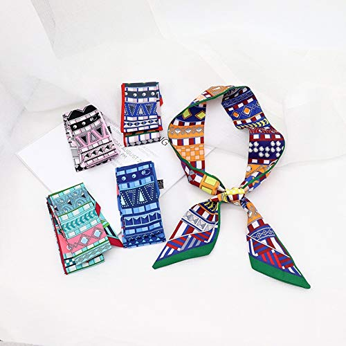 YUNYUN Pañuelo largo de seda de satén para el pelo y el capó de las mujeres, bolso de mano, bufandas para el cuello, color blanco, talla única
