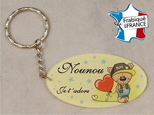 Porte Clef - Nounou je t'adore (Cadeau pour la fête des Nounous, Noël, Anniversaire, fin de contrat, fin d'année scolaire)