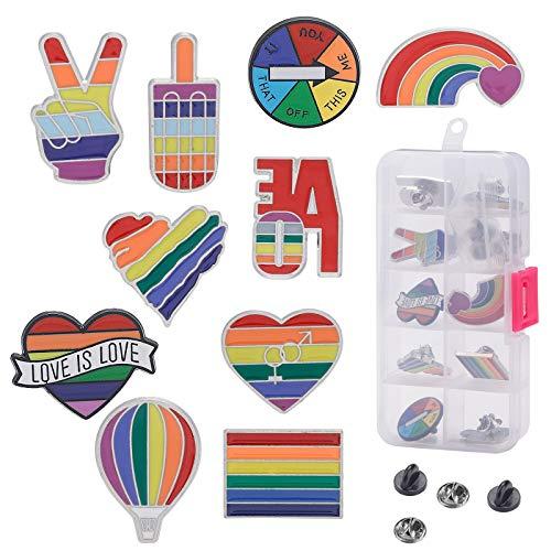 10 paquetes de broches de arco iris, broches de bandera del arco iris, pines de orgullo gays, pines esmaltados, adecuados para el uso diario, baile, boda, graduación, aniversario, etc.