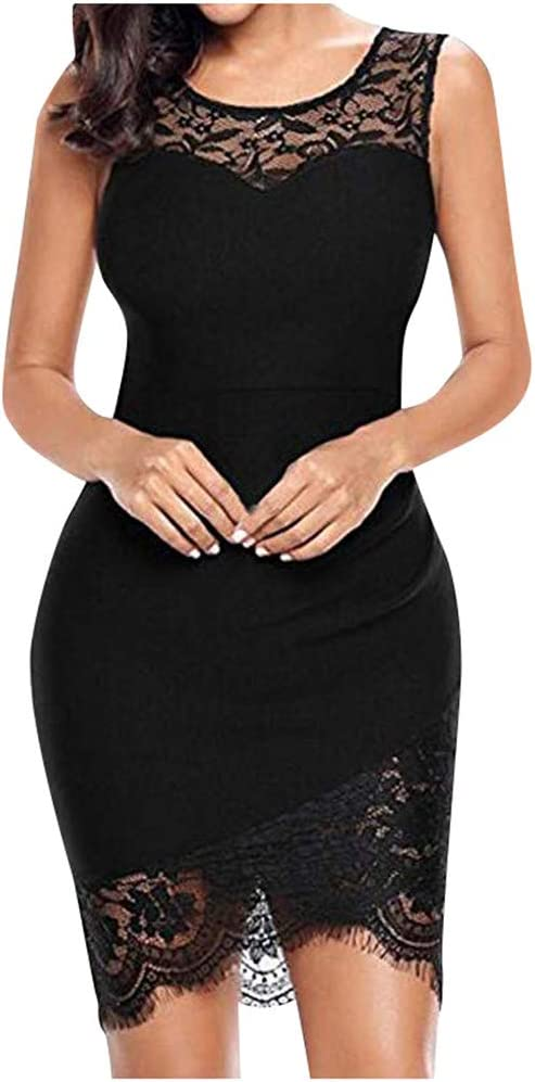 YOMXL Women's Sleeveless Little Evening Short Sexy Floral Lace Bodycon Party Cocktail Club Dress(Black,L)