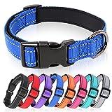 HEELE Collar Perro, Collar Nylon Reflectante Neopreno Forrado Ajustable para Perro Pequeño, Azul Oscuro , S