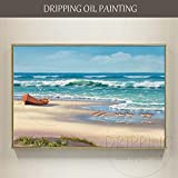 Pintado a mano playa y ola pintura al óleo lienzo pintura paisaje marino...