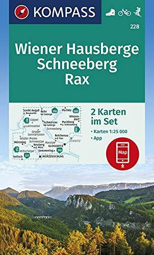 KOMPASS Wanderkarte Wiener Hausberge, Schneeberg, Rax: 2 Wanderkarten 1:25000 im Set inklusive Karte zur offline Verwendung in der KOMPASS-App. ... Skitouren. (KOMPASS-Wanderkarten, Band 228)