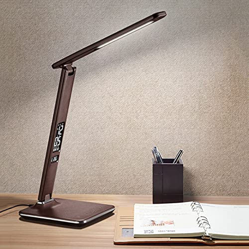 zlw-shop Lámpara de Escritorio LED Patrón de Cuero Lámpara de Escritorio Plegable 7W Luz de Oficina en casa, 3 Modos de Color Brillo, Pantalla LCD con Reloj/Alarma/Fecha/Temperatura (Color : Brown)