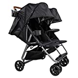 The Twin+ (Zoe XL2) - Best Double Stroller - Everyday Twin Stroller with Umbrella - UPF 50+ - Tandem Capable