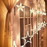 Avoalre Luz de Cortina Estrella, 12 Estrellas 138 LEDs Luz Navidad Estrella con 8 Modos Impermeables...
