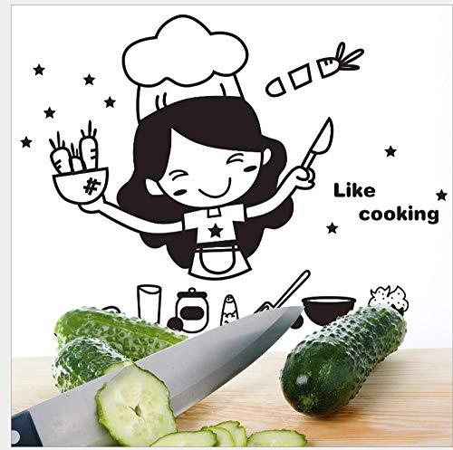 Pegatinas De Pared Extraíble Autoadhesivo Creativo Lindo Chef Cortando Verduras Cocina Restaurante Pegatinas De Pared Pegatinas De Refrigerador De Dibujos Animados 20 * 30Cm
