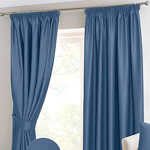 HOMESCAPES Navy Blue Pencil Pleat Blackout Thermal Curtain Pair Width 228cm (90') x 137cm (54') Drop Herringbone Chevron Textured Retro Geometric Design. FREE SWATCHES.