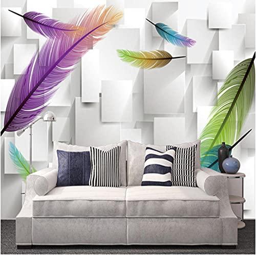 Newberli Papel Tapiz Fotográfico Personalizado 3D Rejilla Cuadrada Celosía Moda Pluma Moderna Sala De Estar Tv Fondo Pared Mural Papel Tapiz
