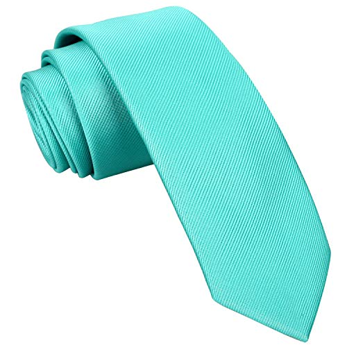 Alizeal Men's Solid Color Skinny Tie 2.4 inches (6cm width) Casual Neckties (Aqua Green)