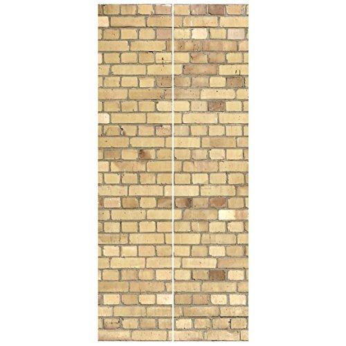 Vliestapete Tür Premium - Klinkertapete hell-gelb - Türtapete, Größe HxB: 215cm x 96cm