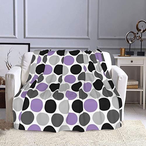 KCOUU Manta de forro polar de 50 × 60 pulgadas, color morado, gris, negro, retro, acogedora, cálida manta decorativa para sofá, cama, sofá, viajes, hogar, oficina, uso en todas las estaciones