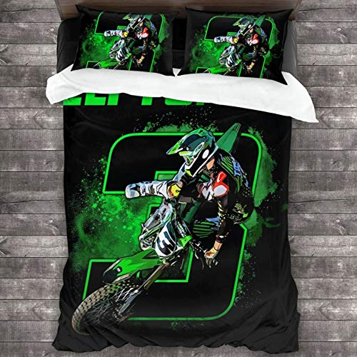 Eli Tomac 3 Motocross and Supercross Bedding,3D Bedding Comforter Quilt Set 3 Piece Bedding Set with 2 Pillow Shams