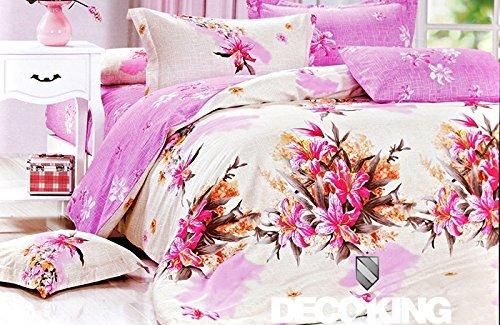 DecoKing 160x200 Bettwäsche mit 2 Kissenbezügen 70x80 und mit einem Bettlaken Bettwäscheset Bettbezüge Baumwolle Bettwäschegarnituren Reißverschluss weiß Ecru Creme rosa braun orange lachs Amaranth