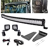 WSays Upper Roof Pro-fit Cage 52'' 300W LED Curved Light Bar Mount Bracket Kit & Rear Side Pillar 2x3'' 18W Light Pods Mount Bracket w/Wiring Kit Compatible with Can-Am Defender 2016-2021