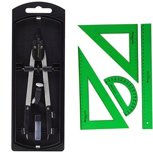 Faber-Castell 32722-8 - Compás de ajuste rápido, con tornillo central, articulaciones en ambos brazos + Faber Castell 65021 - Pack escolar con escuadra, cartabón, regla y semicírculo, color verde