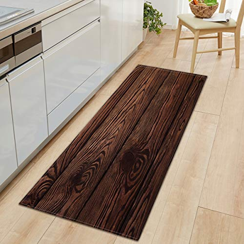 OPLJ Anti-Rutsch-Holzmuster Teppich Küchenmatte Schlafzimmer Wohnzimmer Teppich Eingang Fußmatte Flur Badezimmer Bodenmatte A24 40x60cm + 40x120cm
