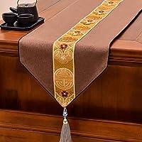 テーブルランナーキッチン ファミリーディナー、パーティ、ヴィンテージの装飾テーブルランナーリネンランナー、3色用リネンテーブルランナー、キッチンテーブルランナー (Color : Brown, Size : 34x320 cm)
