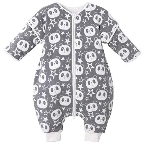 Baby Schlafsack mit Füßen Langarm Schlafanzug mit Abnehmbaren Ärmel 3.5 Tog Baumwolle Tragbare Decke, Grau 24-36 Monate