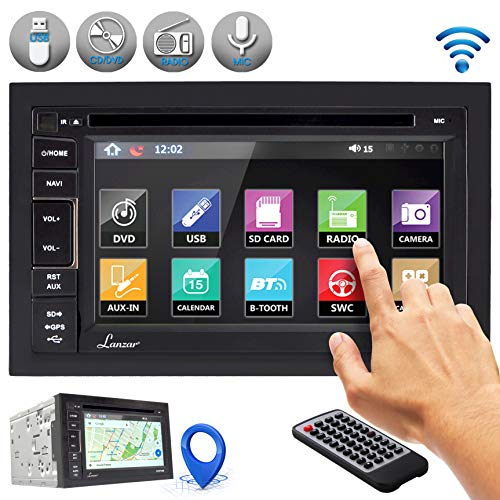 Lanzar Bluetooth Car Stereo Receiver - Touchscreen Headunit Radio System with Hands-Free Talking, CD/DVD Player, AM/FM Radio, Double Din (SDNV66B.5)