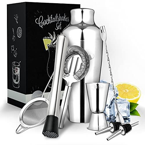 Vezato Juego de coctelera de acero inoxidable – Innovador juego de coctelera – Accesorios de coctelería aptos para lavavajillas y antioxidantes – Juego de bar ideal para regalo