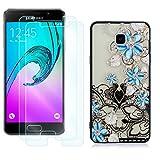 YKTO Cristal Templado + Funda para Samsung Galaxy A3 2016 A310 4.7 Pulgadas Fina 3D Moda Dibujos Antigolpes Caso [2 Piezas] HD Transparente Protector Pantalla Adapta Perfectamente Flor Azul