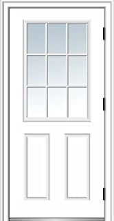National Door Company ZZ364573L Steel, Primed, Left Hand Outswing, Prehung Door, 9 Lite 2-Panel, Clear Glass, 36