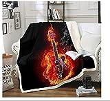 BEDJFH Negro Rojo 3D Sherpa Manta Flame Guitarra Manta de Felpa 130cm x 150cm Manta de Lana Sobrecama para Baby Shower Mantas para Cama Sofá Dormitorio Vivero
