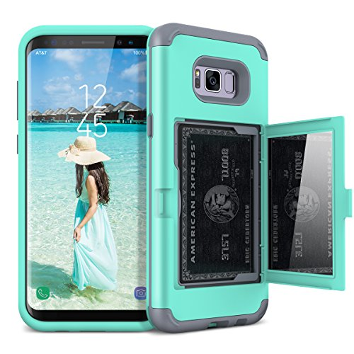WeLoveCase Galaxy S8 Wallet Case Defender Wallet Design with Hidden Back Mirror and Card Holder Heavy Duty Protection Shockproof 3 in 1 All-Round Armor Protective Case for Samsung Galaxy S8 - Mint
