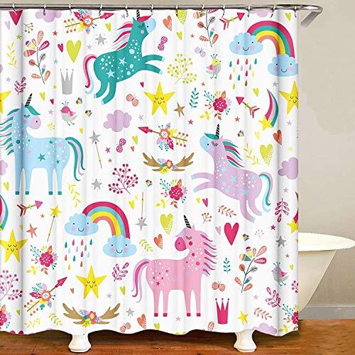 Einhorn-Fantasie Regenbogen Duschvorhang Sets Süß Schön Polyester Wasserdicht Waschbarer Anti-Schimmel Duschvorhang Badezimmer Dekor mit Haken für die Dusche 180 x 180 cm