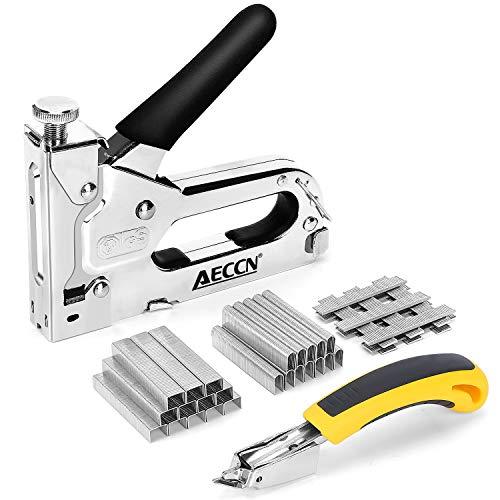 Handtacker Set 3-in-1 Tackerpistole mit Einstellbarer Schusskraft, mit 1800 Klammern und 1 Klammerentferner, für Polster, Dekoration, Zimmerei, Möbel