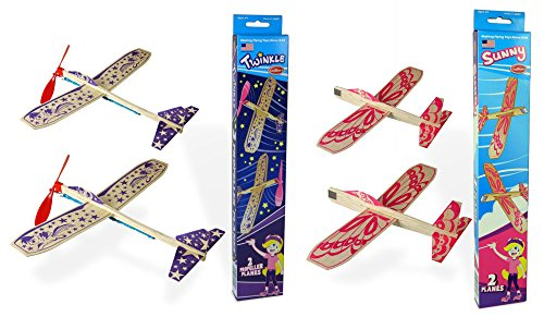 Guillow Girls Balsa Wood Model Airplane Set - (Pack of 4 Planes) - 2 Purple Twinkle Rubberband Powered Airplanes, and 2 Sunny Pink Gliders