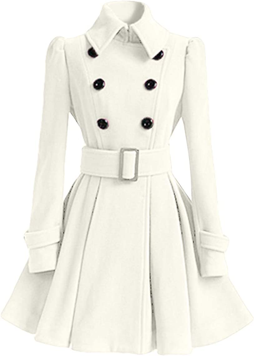 YMING Elegant Women Double Breasted Pleated Mid-Long Lowest price challenge with Coat Belt Pea