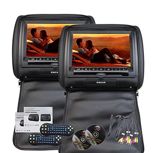 Eincar 9 pouces HD 800 * 480 R¨¦solution Double ¨¦crans jumeaux de voitures 2 PCS Car Headrest Oreillers R¨¦gion libre double syst¨¨me de divertissement de voiture de lecteurs DVD IR FM cuir artificie