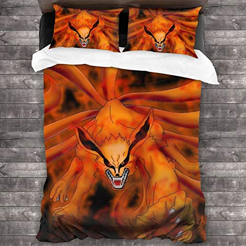 (3 Pieces Cover Set) Naruto Nine-Tailed Fox Queen Size Luxury Home Bedding Super Soft Hypoallergenic Breathable Resistant Fade Stain Wrinkle Washable
