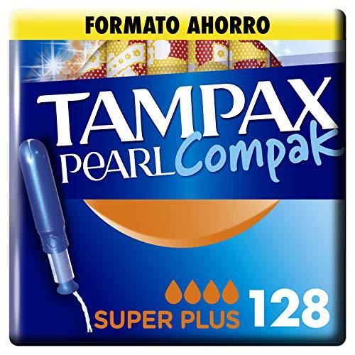 Tampax Pearl Compak Super Plus, Tampón con aplicador, ofrece comodidad, protección y discreción, 128 unidades