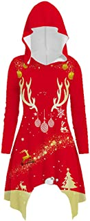 Lataw Women Sweatshirt Cute Tops Deer Printed Christmas Printing Stylish Long Sleeve Hooded Blouse Autumn Winter Costume Clothes