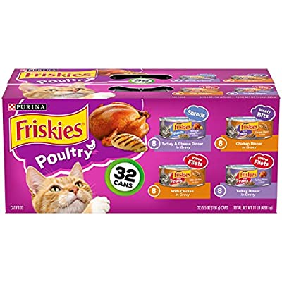 Friskies Wet Cat Food Poultry Variety Pack, (32) 5.5 Oz Cans