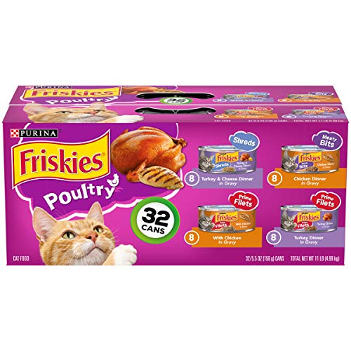 Purina Friskies Variety Pack Cat Food Gravy, Poultry Shreds, Meaty Bits & Prime Filets - (32) 5.5 oz. Cans