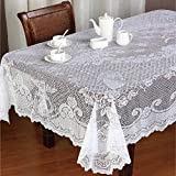 San Tungus Christmas White Lace Rectangular Tablecloth with Angel for Parties, Weddings, Baby Showers, Dining Tables, 60 x 84 Inches