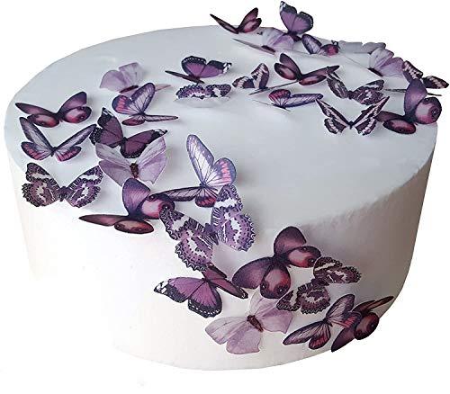 48 x Vorgeschnittene schöne lila Schmetterlinge essbares Reispapier/Oblatenpapier Kuchendekoration, Dekoration für Cupcake Kuchen Dessert, für Geburtstag Party Hochzeit Babyparty (S)