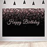 women pictures - Aperturee 5x3ft Happy Birthday Backdrop Pink and Black Shiny Glamour Sparkle Sweet Glitter Photography Background Women Girls Party Decorations Supplies Photo Studio Booth Props Cake Table Banner