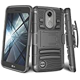 LG Phoenix 3 Case, LG Fortune Case, LG K4 2017 Holster, TILL [Knight Armor] Heavy Duty Full-Body Rugged Resilient Combo Defender Case Locking Secured [Belt Swivel Clip][Kickstand] Cover Shell [Black]