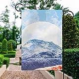 unknow Doppelseitige Premium-Fahne für Frühlingsgarten, dekorative Flagge, lila, weiße Hügel, Mond, Gartenflagge, Outdoor, Urlaub, Hof, Flaggen