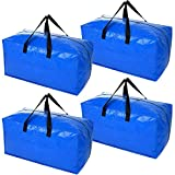 Heavy Duty Extra Large Storage Bags, XL Blue Moving Bags for College Dorm Room Essentials, Moving Supplies Compatible with IKEA Frakta Cart, 4 Packs