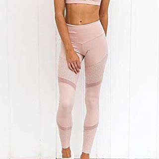 Jinqiuyuan Eggings Sport Women Fitness Tight Fit Fitness Pants Leggings Sexy High Waist Pushes Up Hips Quick-Dry Running Yoga Pants (Color : Pink, Size : XL)