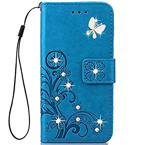 LG Tribute HD Case, LG X Style Wallet Case Fashion Handmade 3D Bling Diamond PU Leather Stand Flip Case Cover With Card Holder Folio Wallet Case for LG X Style/LG Tribute HD Blue